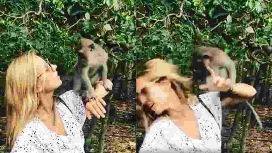 Cris Dias leva tapa na cara de macaco na Indonésia - Reprodução/Instagram