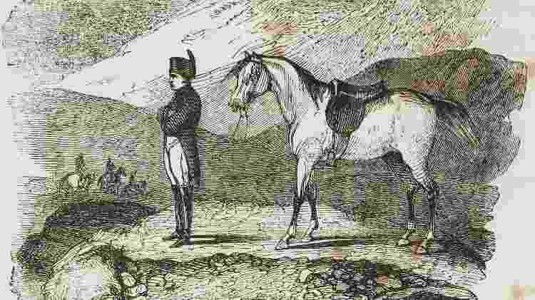 Gravura de Nicolas-Toussaint Charlet (1792-1845) mostra Napoleon Bonaparte na ilha de Santa Helena em janeiro de 1816 - De Agostini via Getty Images - De Agostini via Getty Images