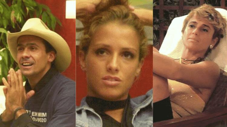 Rodrigo Leonel (Cowboy), Manuela e Cida no BBB 2 - Reprodução/TV Globo - Reprodução/TV Globo