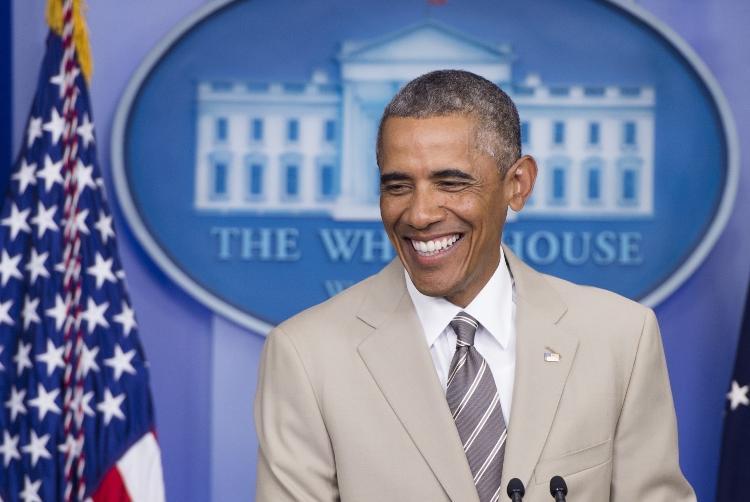 Barack Obama em 2015 em um terno bege - Getty Images - Getty Images