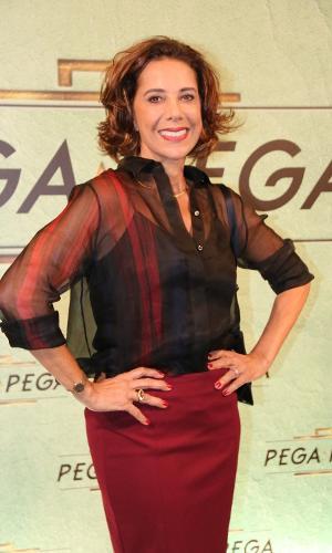 """Angela Vieira no lançamento de """"Pega Pega"""", novela das sete da Globo"""