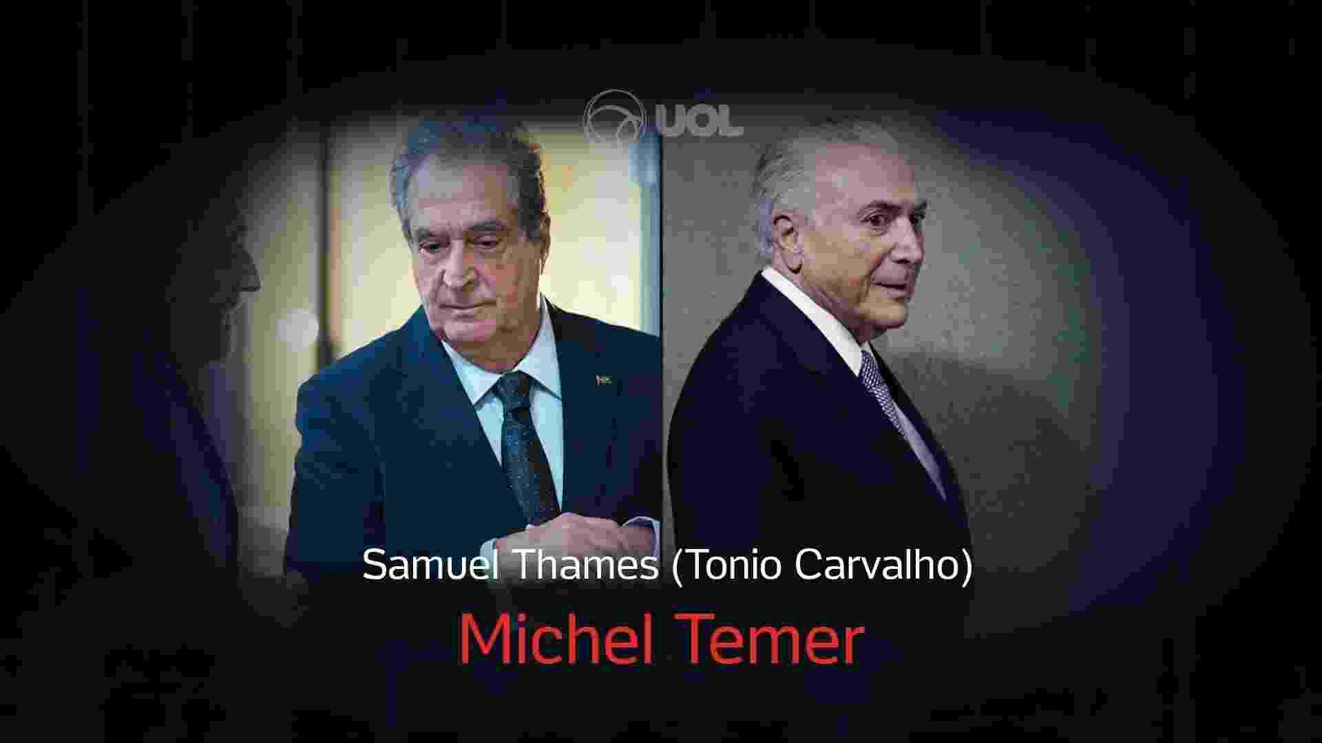 O Mecanismo - Michel Temer - Samuel Thames - Karima Shehata/Netflix e Leonardo Benassatto/Reuters