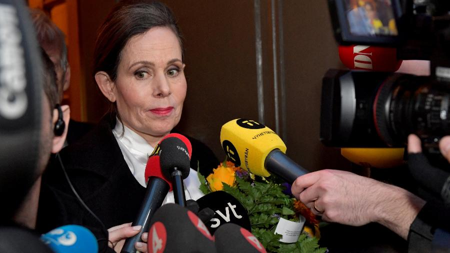 Sara Danius, secretária da academia do Nobel - Jonas Ekstromer/Via Reuters