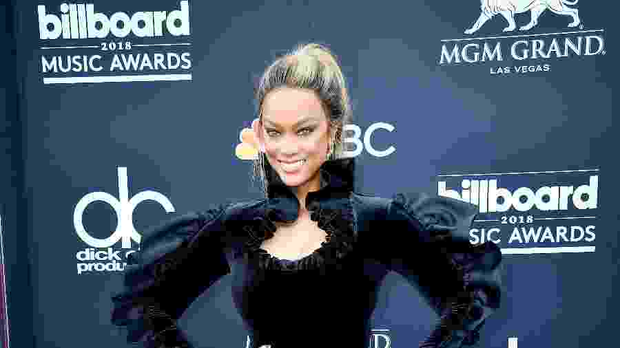 Tyra Banks no Billboard Music Awards, em 2018 - Getty Images