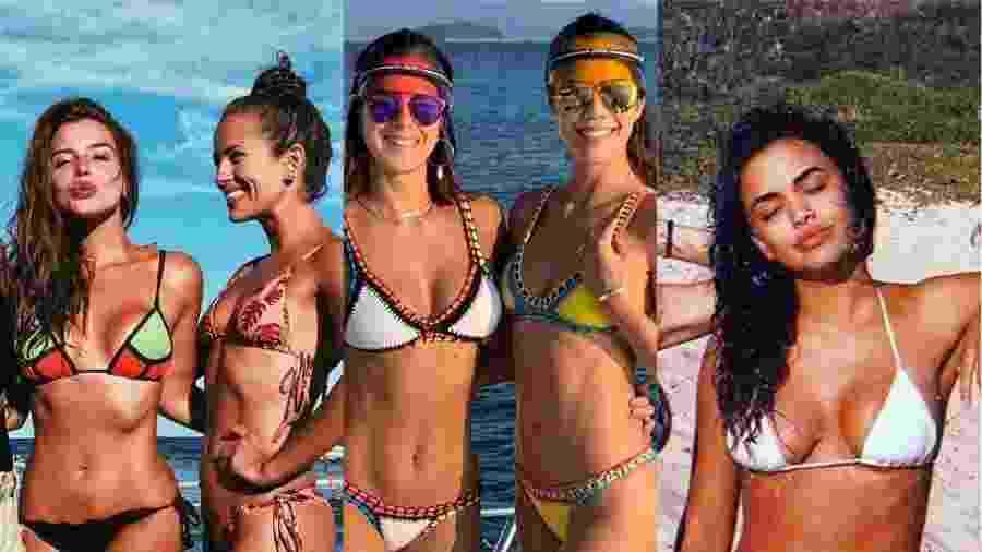 Atrizes curtem verão com amigas na praia, piscina e passeios - Colagem/UOL