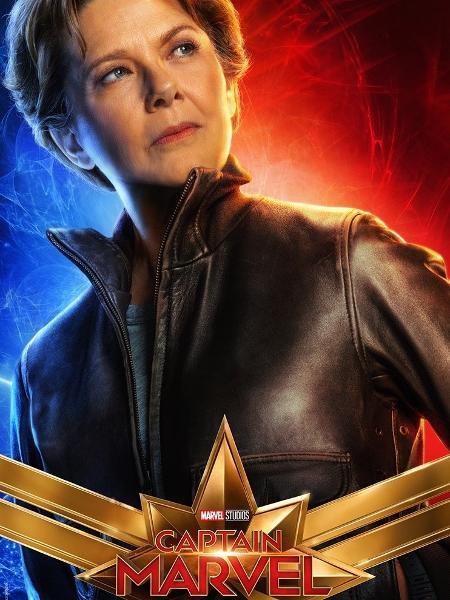 """Annette Bening em pôster de """"Capitã Marvel"""" - Divulgação"""