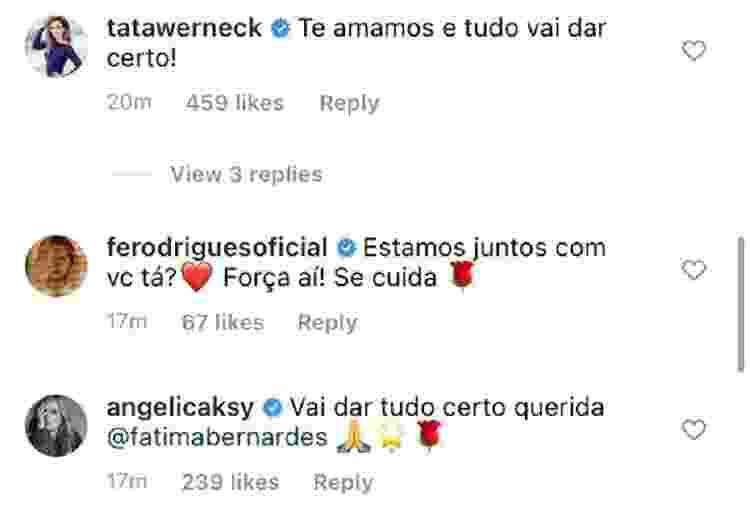 Fátima Bernardes está com câncer; Famosos comentam (5) - Reprodução/Instagram - Reprodução/Instagram
