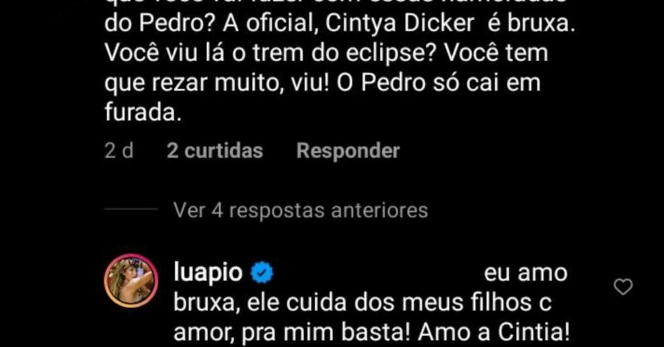 Luana Piovani defende Cintia Dicker em comentário do Instagram