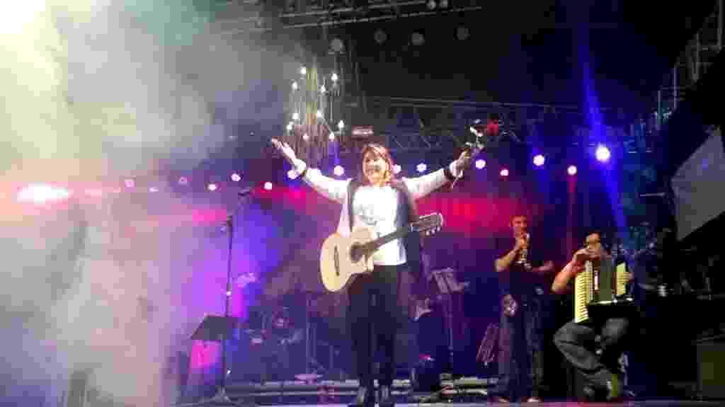 22.mai.2016 - A cantora Roberta Miranda encerra as apresentações da Virada Cultural no palco Arouche, centro de São Paulo - Reprodução/Twitter/Prefeitura SP