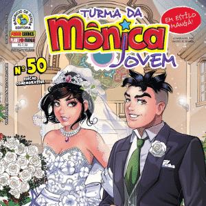 Capa da edição 50, ambientada no futuro, quando Mônica e Cebolinha se casam - Reprodução