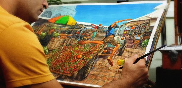 """Gidalti Moura Jr. trabalha na arte da capa de """"Castanha do Pará"""", obra que acabou censurada em mostra de shopping de Belém"""