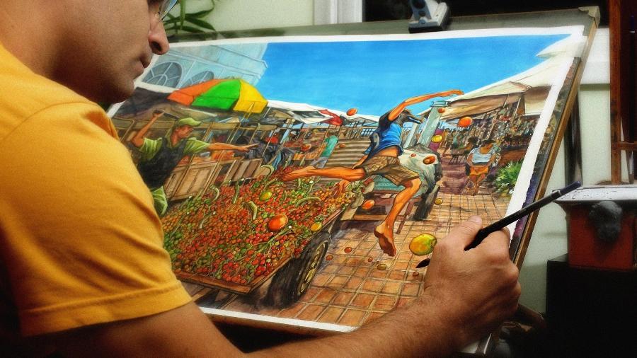 """Gidalti Moura Jr. trabalha na arte da capa de """"Castanha do Pará"""", obra que acabou censurada em mostra de shopping de Belém - Reprodução/Facebook"""
