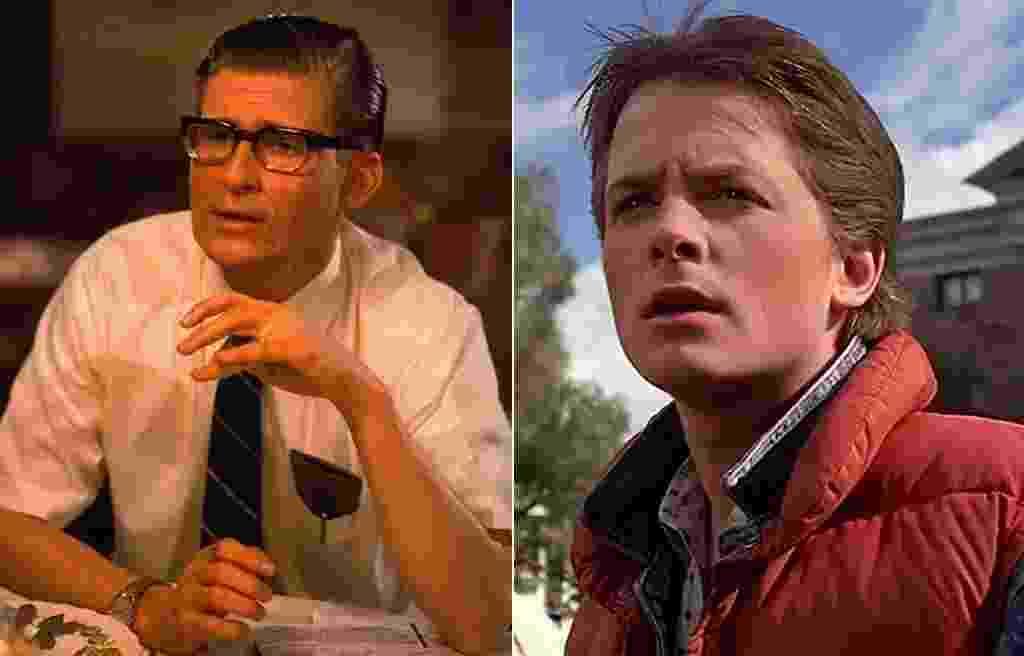 """Crispin Glover e Michael J. Fox em cena no filme """"De Volta Para o Futuro"""" (1984) - Divulgação"""