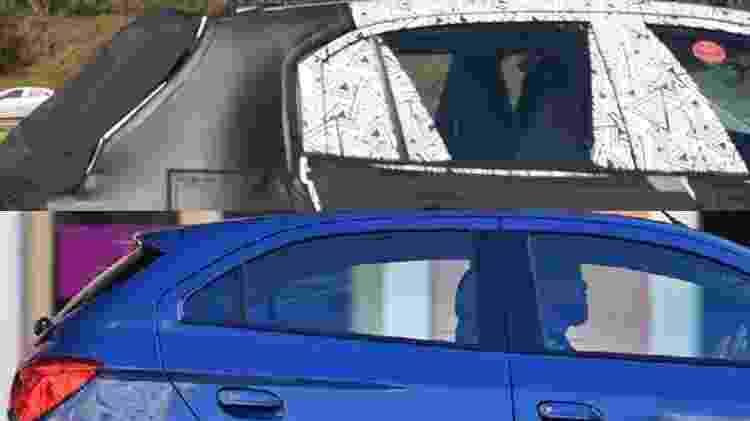 Comparando a silhueta do protótipo flagrado com a do Onix é possível enxergar a diferença de porte dos modelos: veja como a janela-espia é maior e como sobra mais lataria entre as portas laterais traseiras e a coluna C - Marcelo Ferraz/Murilo Góes/Arte UOL