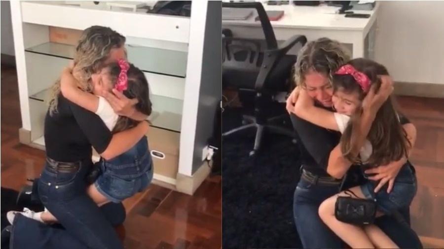 Catia Paganote reencontra a filha, Valentina - Montagem UOL