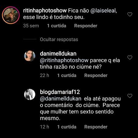 Fãs comentam fato de Laíse Leal ter apagado comentário sobre ciúme do ex Bruno Rocha com Letícia Lima - Reprodução/Instagram