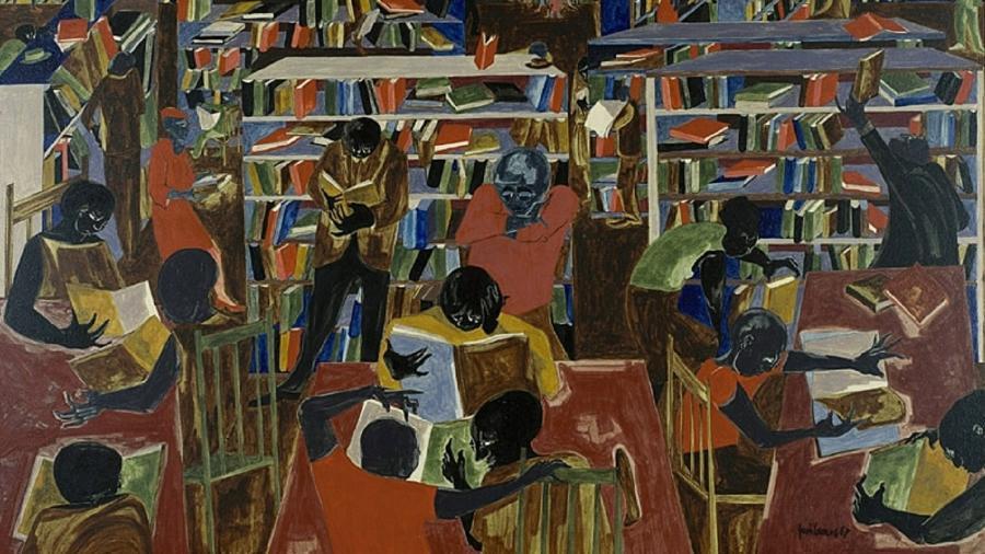 """""""A Biblioteca"""", de Jacob Lawrence - Reprodução"""