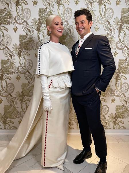 Katy Perry e o noivo, Orlando Bloom, na posse de Joe Biden - Reprodução/Instagram