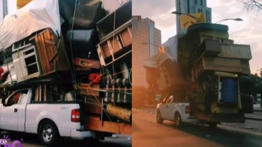 Picape Ford carrega mobília em trânsito no México - Reprodução