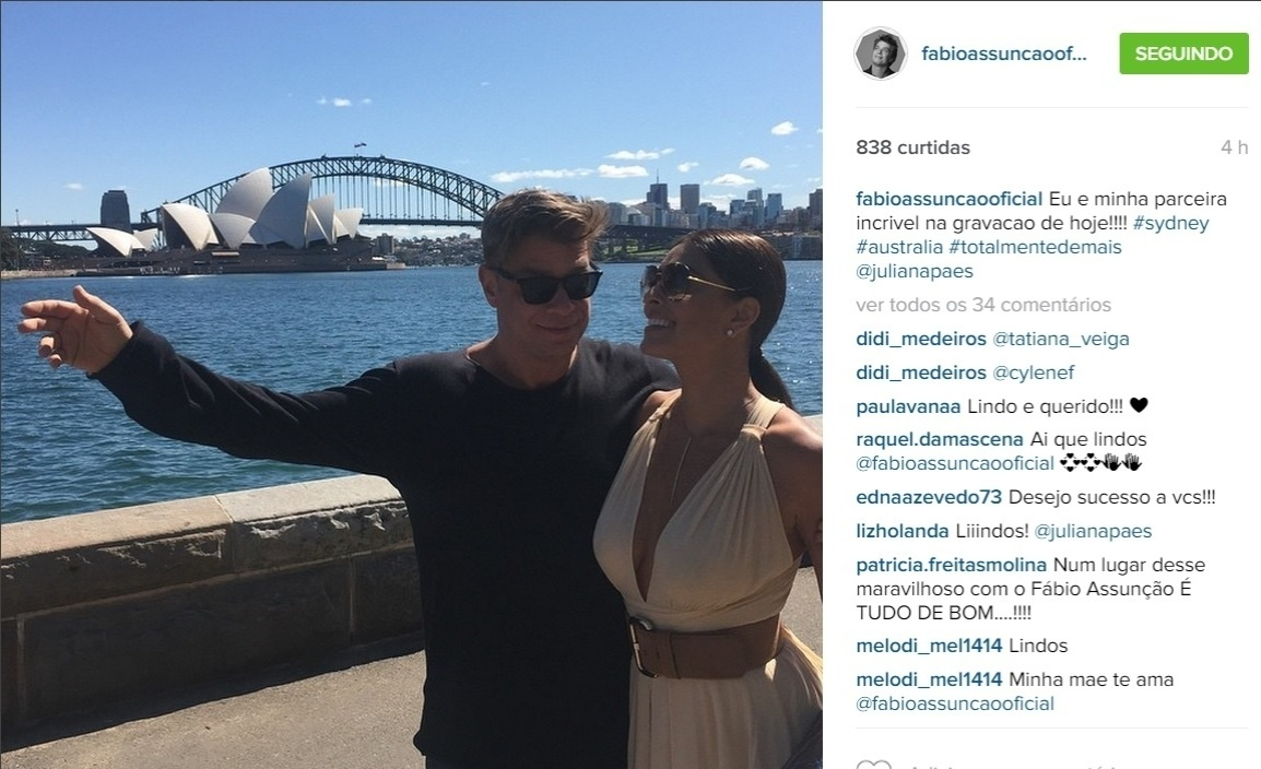 7.set.2015 - Na Austrália para gravar cenas da nova novela das 19h da Globo,