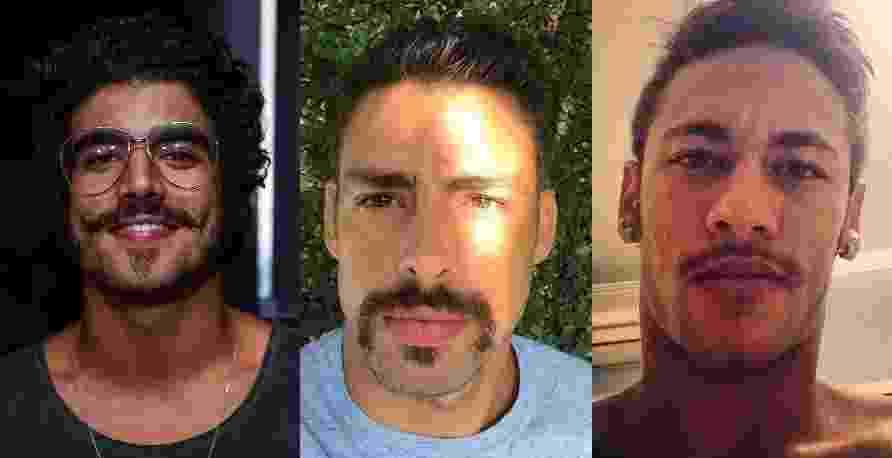 Assim como Cauã Reymond, vários famosos já adotaram o visual com bigodinho. Em alguns, caíram bem, em outros, nem tanto. Relembre alguns bigodudos - Montagem/UOL