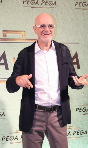 """Marcos Caruso comparece ao lançamento de """"Pega Pega"""", novela das sete da Globo"""