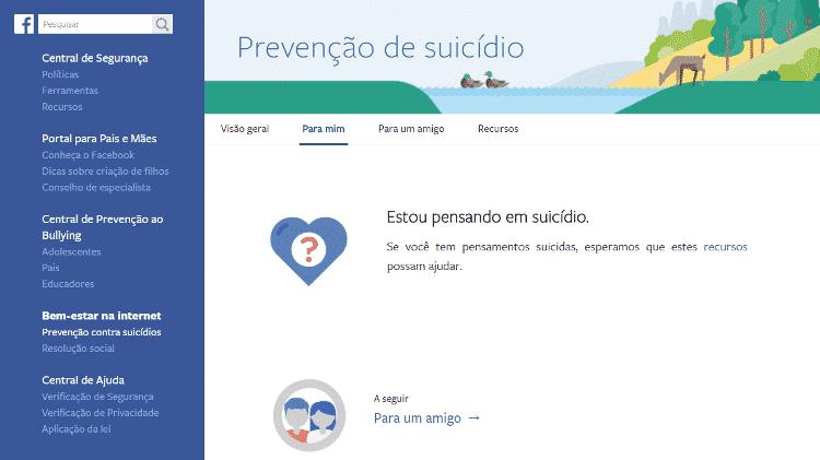 O Centro de Prevenção ao Suicídio do Facebook - Reprodução/Facebook