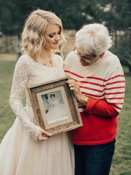 Jordyn Jensen usa o vestido da avó Penny em seu casamento - Reprodução/Facebook