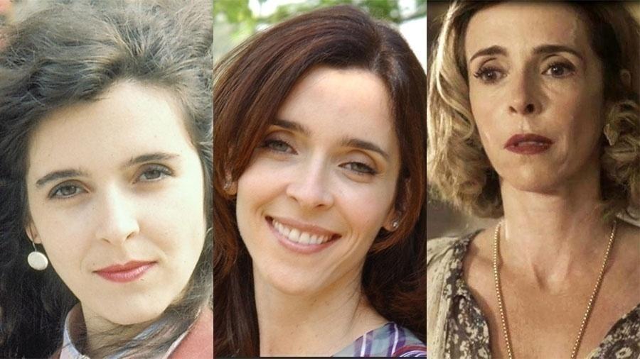 """Deborah Evelyn em três momentos: em """"Bebê a Bordo"""" (1988), aos 22 anos, como Beatriz em """"Celebridade"""" (2003), aos 37, e na pele de Alzira de """"Tempo de Amar"""", aos 51"""