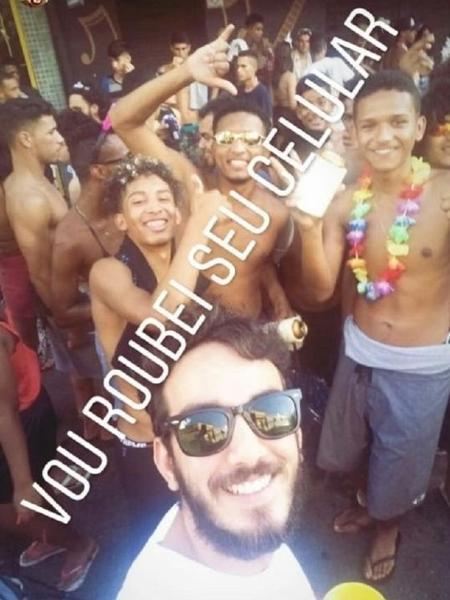 A postagem com mensagem racista e o rosto de Iarley Duarte e seus amigos - Reprodução/Instagram