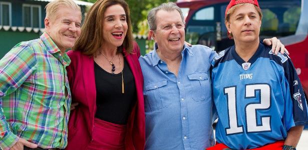 """Miguel Falabella, Marisa Orth, Daniel Filho e Tom Cavalcanti nos bastidores de """"Sai de Baixo, o Filme"""""""