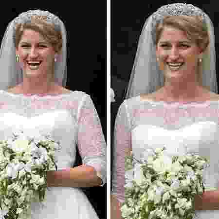 Celia, prima de William e Harry, usando a mesma tiara usada por Diana em seu casamento, em 1981 - Reprodução/Daily Mail