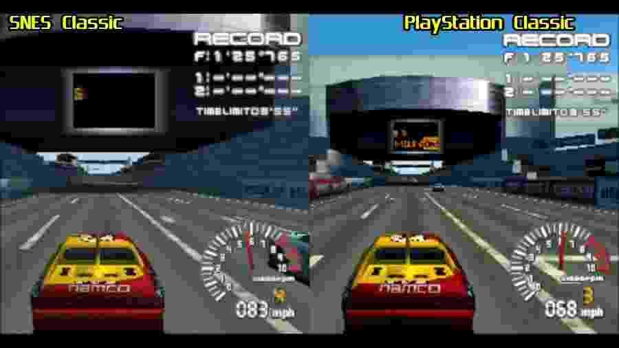 """Comparação de """"Ridge Racer Type 4"""" rodando nas duas plataformas - Reprodução"""