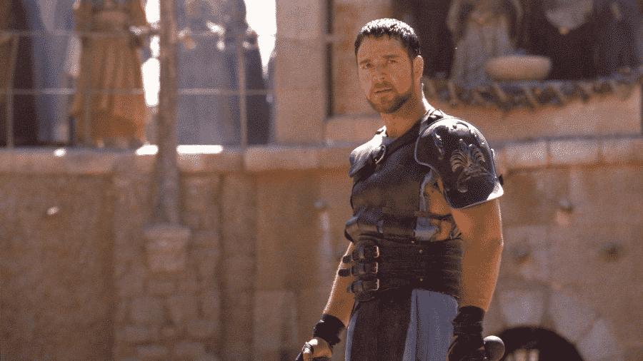Russell Crowe em cena do filme Gladiador (2000) - Reprodução