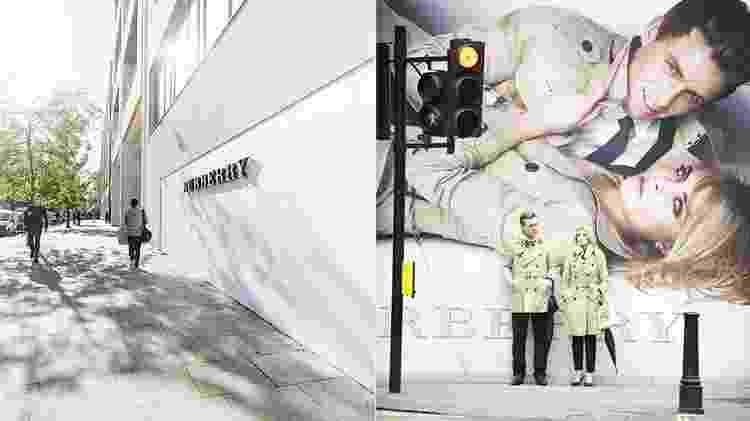 A loja da Burberry e um anúncio da marca, em Londres - Divulgação/VisitBritain/Getty Images - Divulgação/VisitBritain/Getty Images