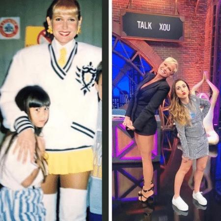 """Tatá Werneck ao lado de Xuxa durante participação no """"Xuxa Park"""", em 1994, e na última sexta, no """"Lady Night"""" - Reprodução/Instagram/@tatawerneck"""