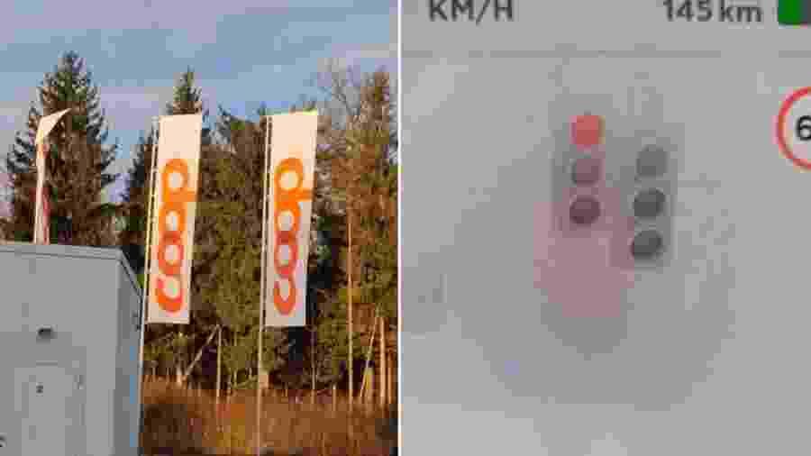 Tesla vê semáforo em bandeira de posto - Reprodução
