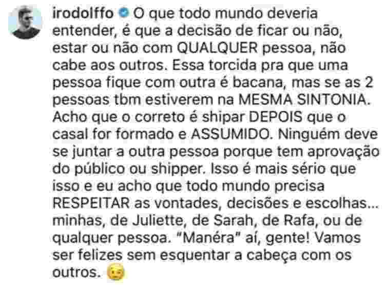 Rodolffo fala sobre shipper com Juliette e Sarah - Reprodução/Instagram - Reprodução/Instagram