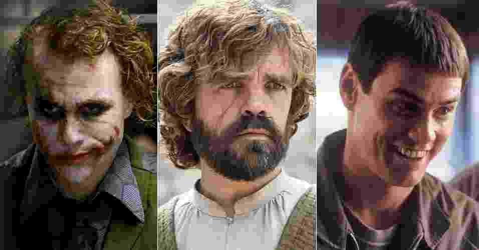 """Em """"Game of Thrones"""", Tyrion Lannister (Peter Dinklage) tinha a voz de Márcio Simões, dublador do Coringa em """"Batman: O Cavaleiro das Trevas"""". Na sexta temporada, passou a ser dublado por Tatá Guarnieri, voz de Jim Carrey em filmes como """"Débi e Lóide"""", """"O Show de Truman"""" e """"Brilho Eterno de uma Mente sem Lembranças"""" - Montagem/UOL"""