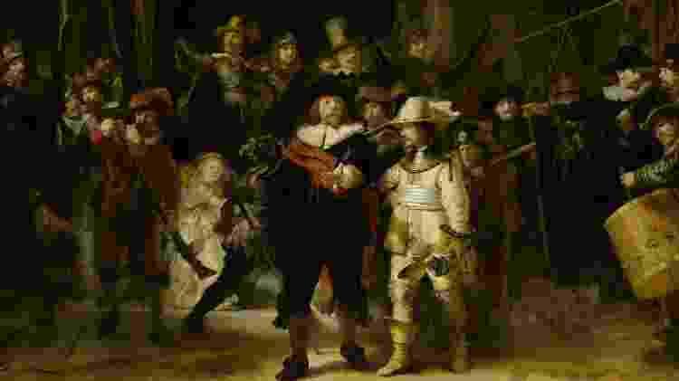 """O museu guarda diversas obras de arte produzidas entre 1584 e 1702 e inclui trabalhos como este óleo sobre tela de Rembrandt. Batizado de """"A Ronda Noturna"""" a obra prima é uma das mais importantes do artista - Rembrandt/Rijksmuseum - Rembrandt/Rijksmuseum"""