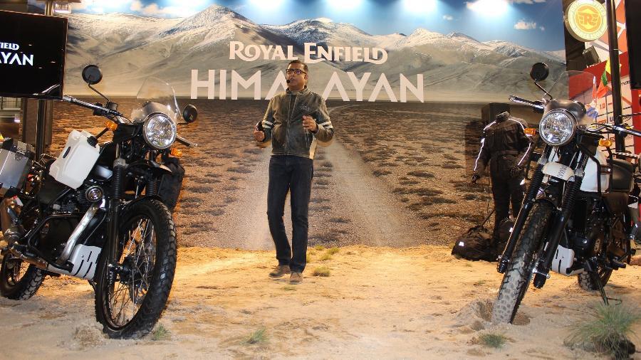 Arun Gopal, diretor da marca, apresenta a Himalayan no Salão de Milão 2016; modelo chega no segundo semestre de 2017 - Arthur Caldeira/Infomoto