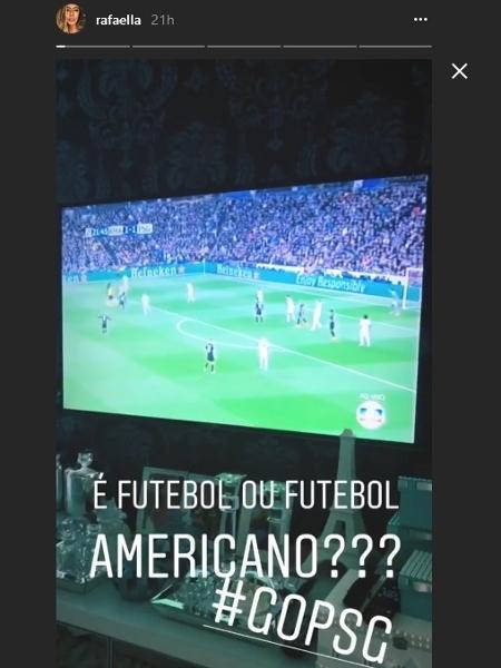 """Rafaella Santos reclama de """"caça"""" ao irmão Neymar no jogo entre Real Madrid x PSG - Reprodução/Instagram/rafaella"""