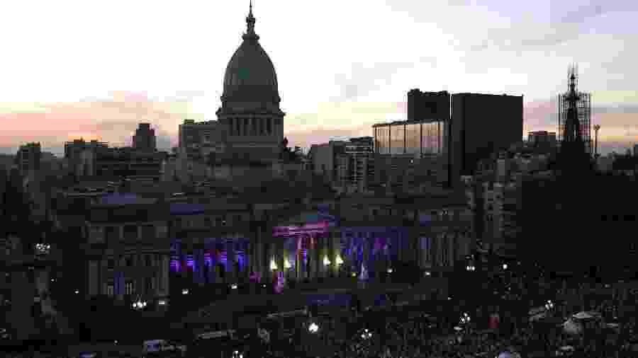 As marchas chegaram até o Congresso Nacional, em Buenos Aires - AFP