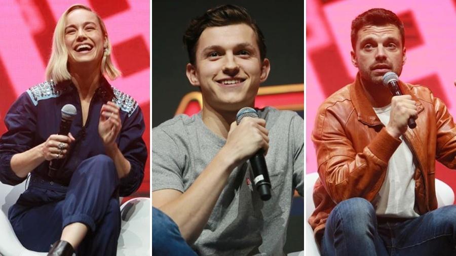 Brie Larson, Tom Holland e Sebastian Stan na CCXP 2018 - Iwi Onodera/UOL