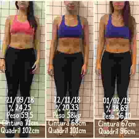A evolução segue firme e forte com redução de peso e percentual de gordura - Arquivo Pessoal