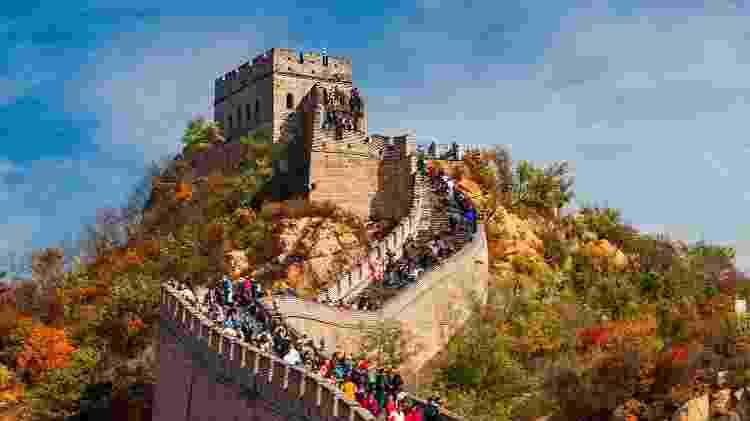 A Grande Muralha da China é uma das atrações turísticas fechadas por causa do coronavírus - Getty Images - Getty Images