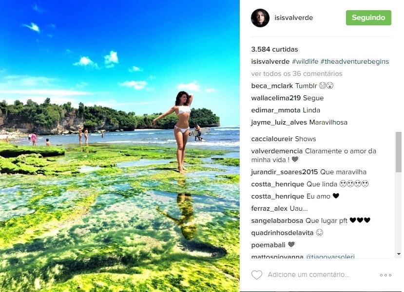 17.ago.2016 - Isis valverde, que está aproveitando uns dias de férias em Bali, na Indonésia, tem presenteado seus seguidores com lindas paisagens e fotos de biquíni. A atriz