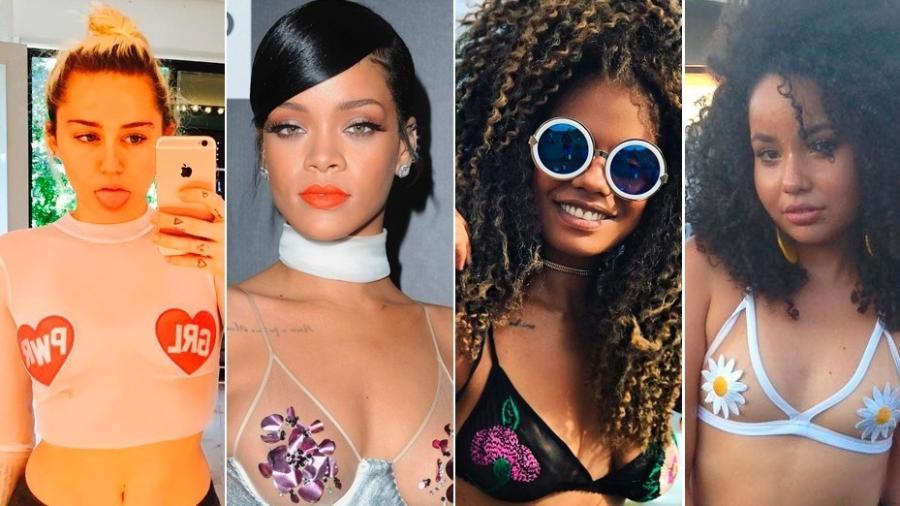 Famosas como Kendall Jenner, Miley Cyrus, Rihanna e blogueiras como Magá Moura e Thayna Freire aderiram à moda do top transparente - Reprodução/Instagram