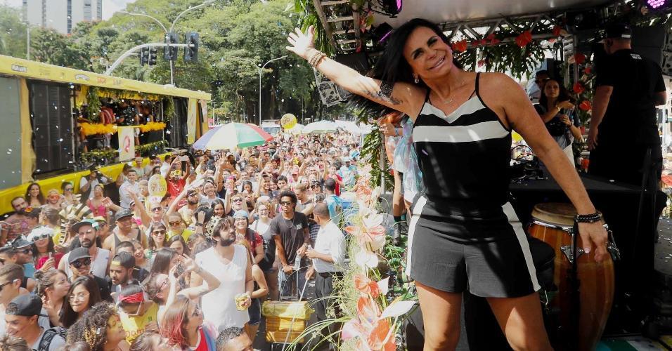 Gretchen participa do Bloco Love Fest, na Praça da República, em São Paulo