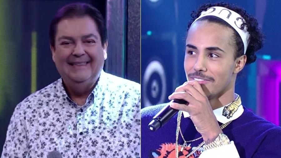 """MC Livinho imita Faustão no """"Ding Dong"""", quadro do """"Domingão"""" - Montagem/Reprodução/TV Globo"""